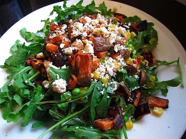 feta, roasted sweet potatoes, corn salad | Eat Clean | Pinterest