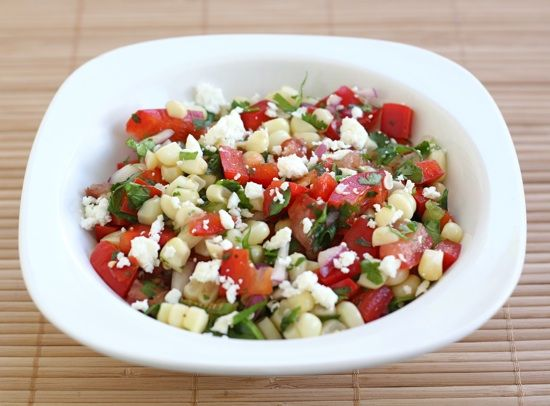 sweet corn salad with cilantro and feta cheese
