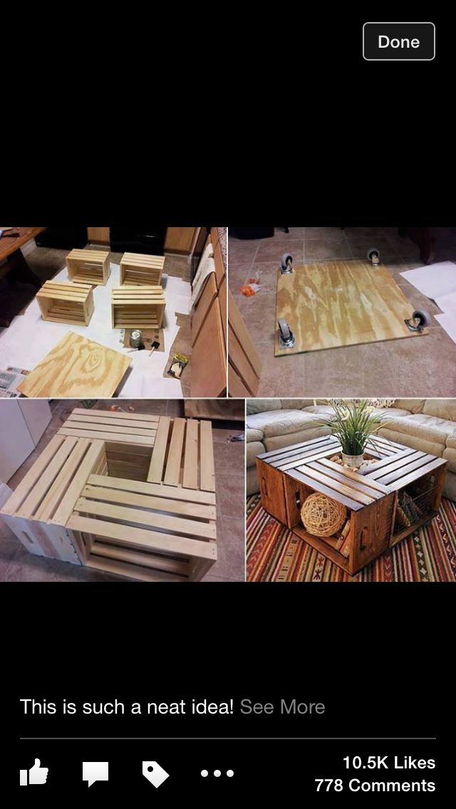 Homemade Crate Coffee Table