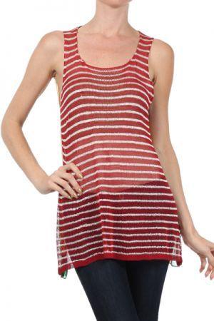 Textured sheer tank top http://enewmall.com/women-sweater