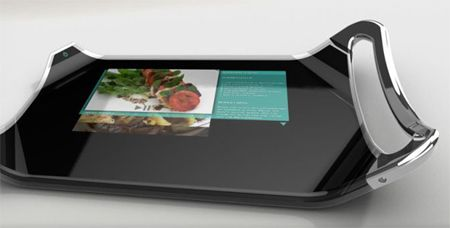 cutting board with screen displaying recipe, photo from www.culy,nl