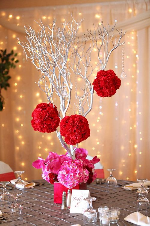 White red and pink wedding centerpiece flower stuff