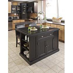 Nantucket distressed black finish kitchen island - Overstock kitchen islands ...