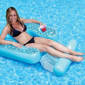 Inflatable floating shangri la chair footrest pool lake pond ebay