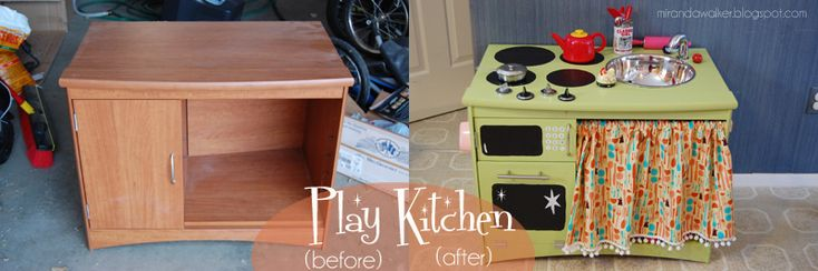tv stand turned play kitchen