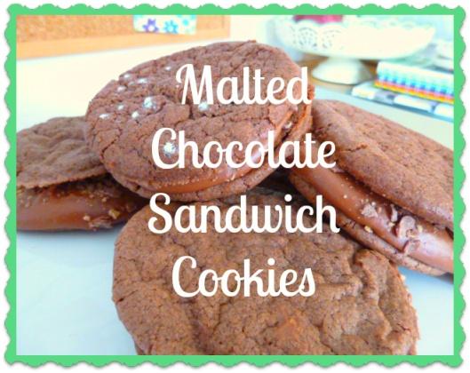 Chocolate Malt Sandwich Cookies with crushed malteasers