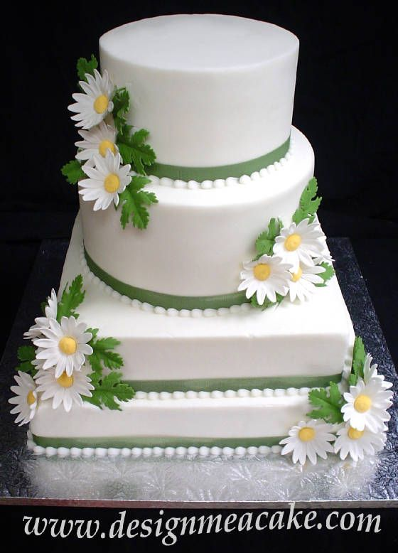 White flowers and green birthday cake. I know we dont want this fancy ...