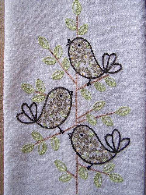 cute retro bird embroidery