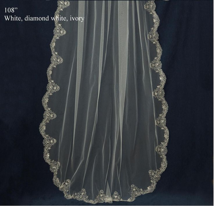 Cathedral Length Wedding Veil With Rhinestone Beaded Embroidery C375