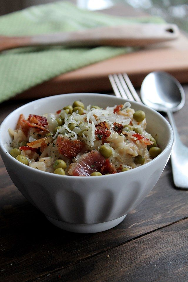Sweet Pea and Crispy Bacon Risotto | Risotto cooked in cream sauce ...