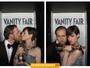 Anne Hathaway divide um beijo com a estatueta do Oscar e o marido