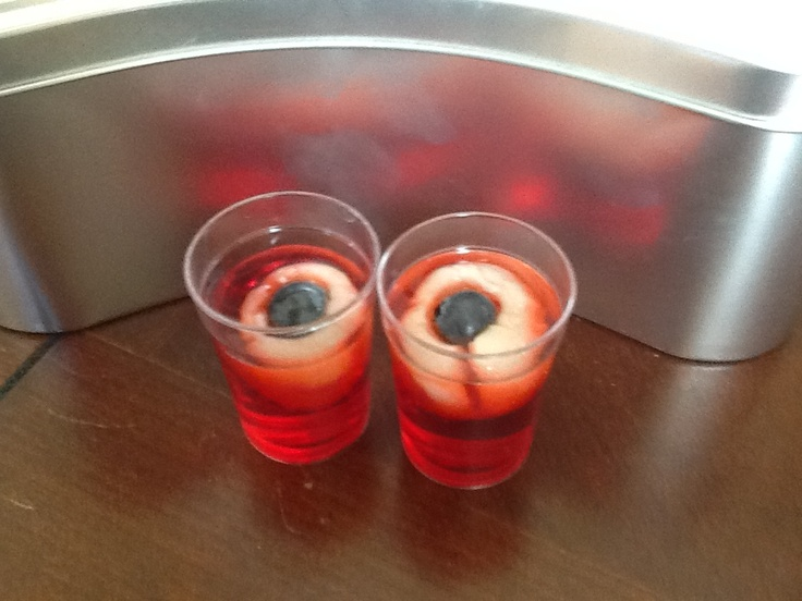 Eyeball shots for Halloween . Lychee, blueberry, grenadine syrup
