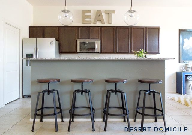 Chelsea Gray Kitchen Island #paint #kitchen #chelseagray #gray #grey #
