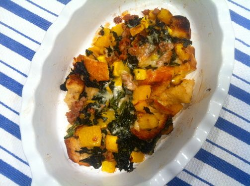 Eggless Strata with Butternut, Sausage, Kale and Fontina | Recipe