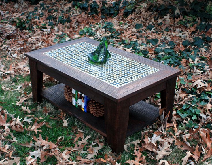 Coffee table with shelf tile mosaic reclaimed wood for Tile coffee table