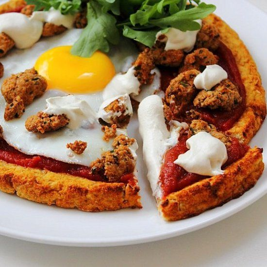 ... cream, quick tomato sauce and cauliflower crust!!! Breakfast pizza