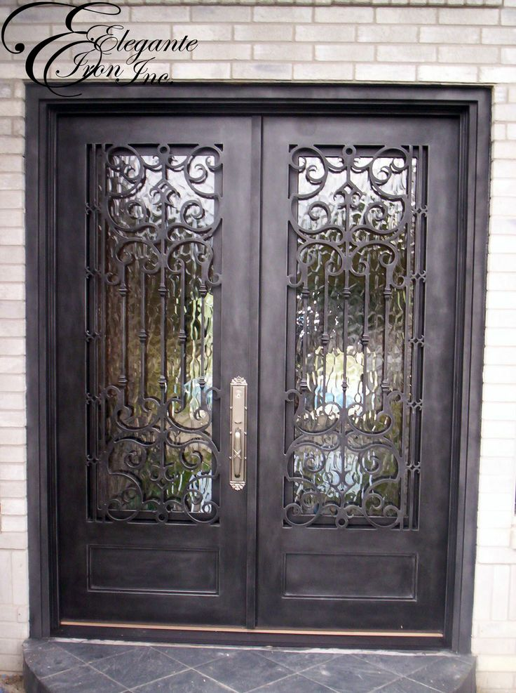 Custom wrought iron front door double doors pinterest for Wrought iron entry doors