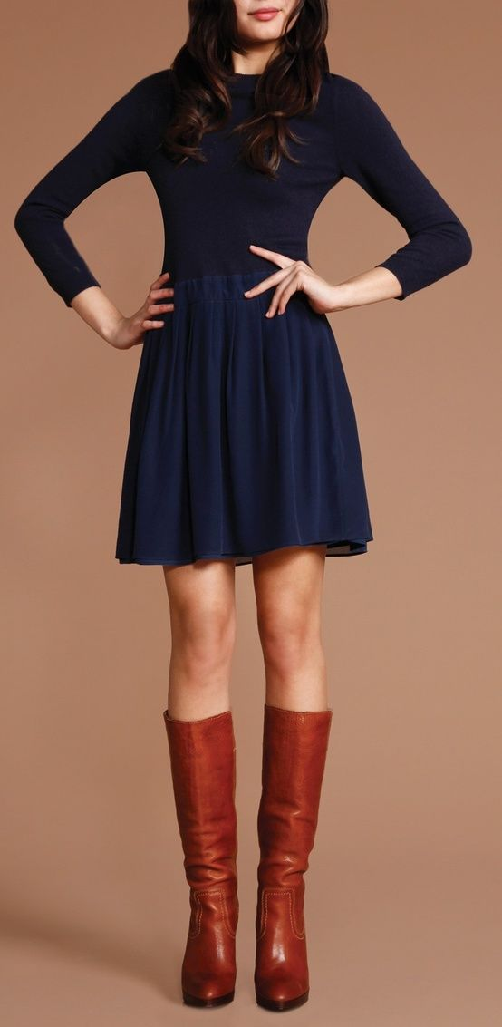 the navy dress and the brown boots miss