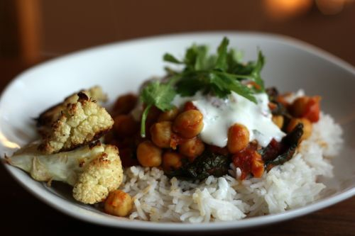 Spicy Chickpeas with Ginger and Kale and Lime Yogurt Sauce
