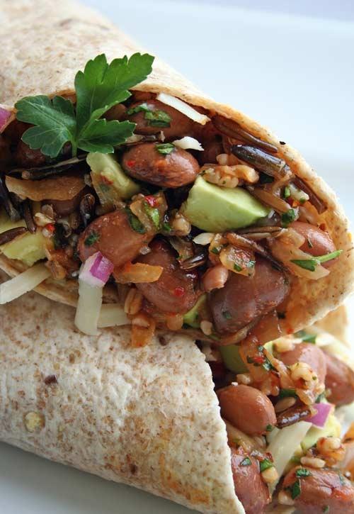 Pinto bean, Quinoa and Wild Rice wrap. Now were talkin!! Vegetarian ...