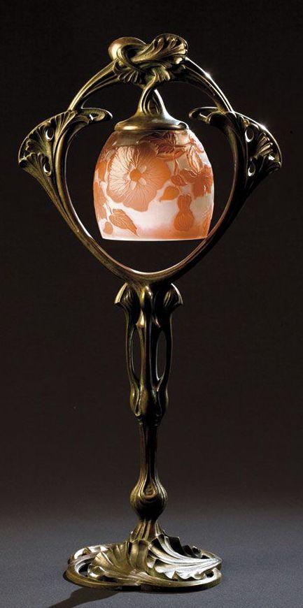 Art Nouveau - Lampe - Pâte de Verre - Monture Bronze 'Gingko' - Emile Gallé