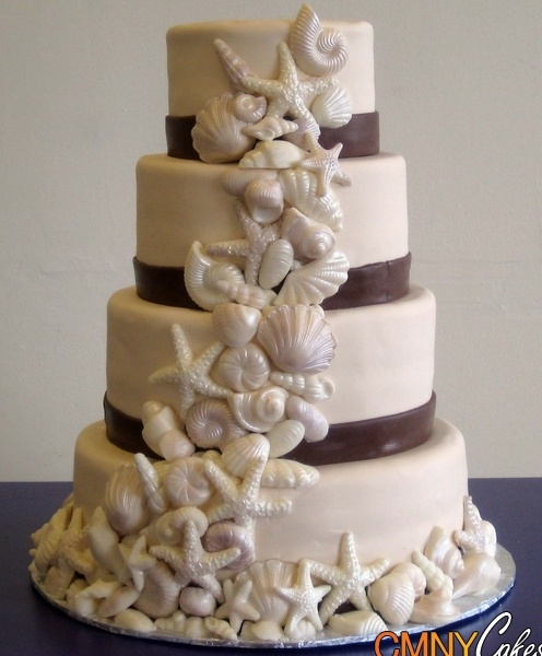 Seashells Cascade Wedding Cake