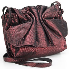 Product Detail : Metallic Wine Python Fold Over Satchel