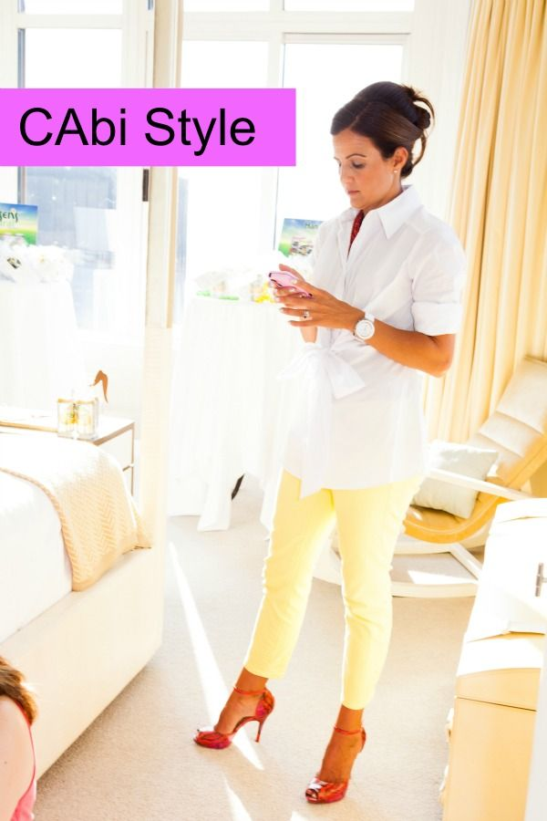 Dressing up a crisp white blouse.