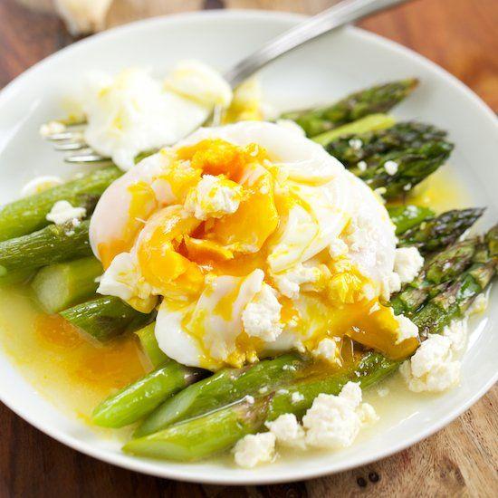Roasted Asparagus with Lemon Feta Vinaigrette topped with Poached Eggs ...
