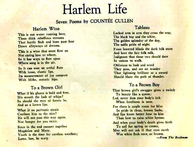 poetry s influences on the harlem renaissance Harlem renaissance variously known as the new negro movement, the new negro renaissance, and the negro renaissance, the movement emerged toward the end of world war i in 1918, blossomed in the mid- to late 1920s, and then faded in the mid-1930s.