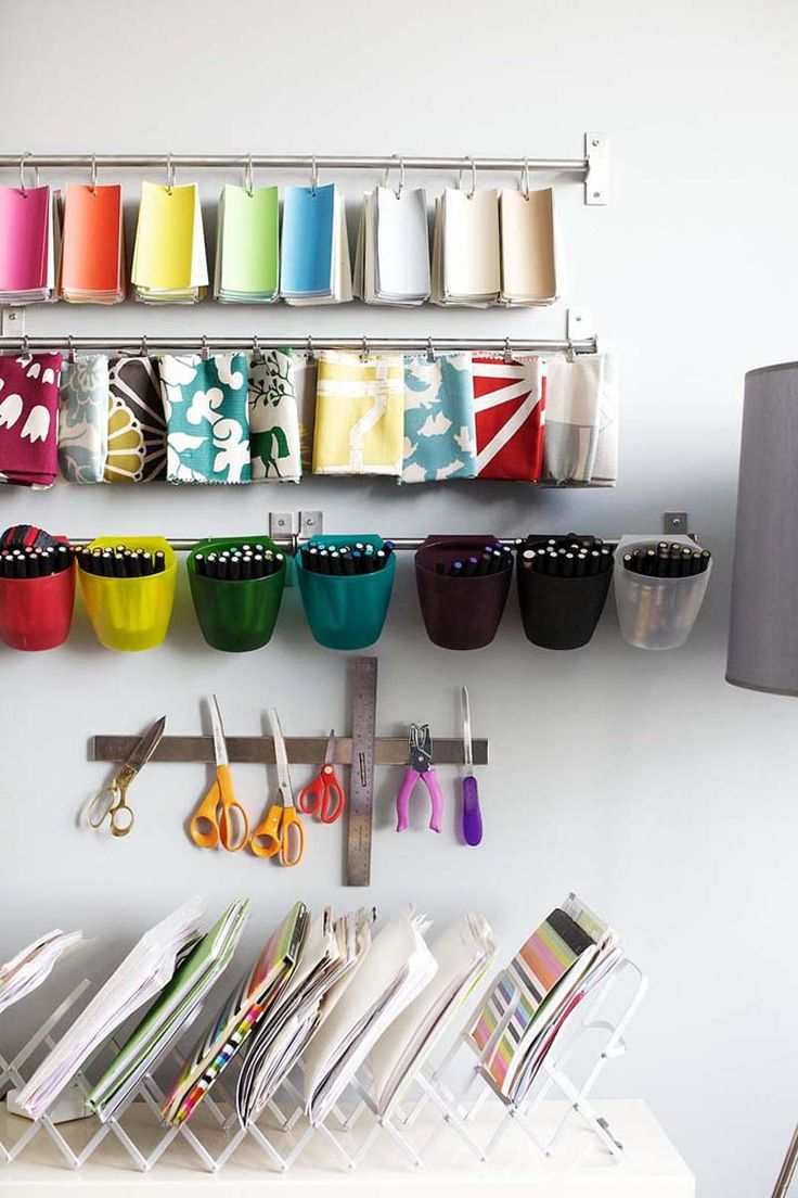great studio organization with a magnetic strip for tools