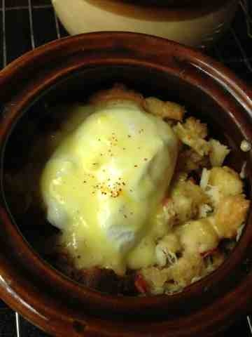 ... With My Family: Savory Bacon And Crab Bread Pudding Eggs Benedict