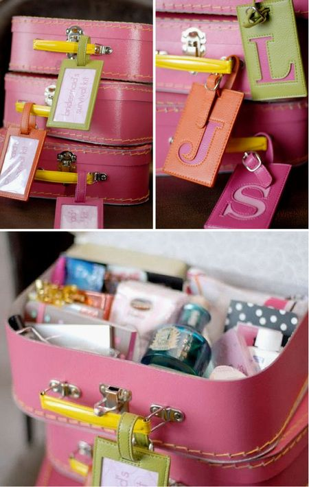 "Use mini suitcases to make ""Survival Kits"" for guests of honor (i.e. bridesmaids, birthday girl, his & hers, etc). These ones contain makeup,etc, but for someone moving, you could make a ""Keep in Touch"" kit, including stationary, stamps, wax seals, eau de parfum and notecards."