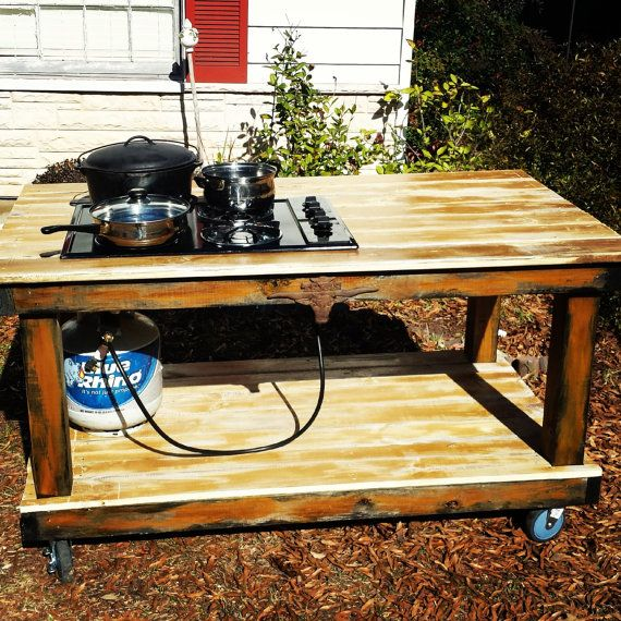Outdoor Propane Cooktop BBQ Canning Table