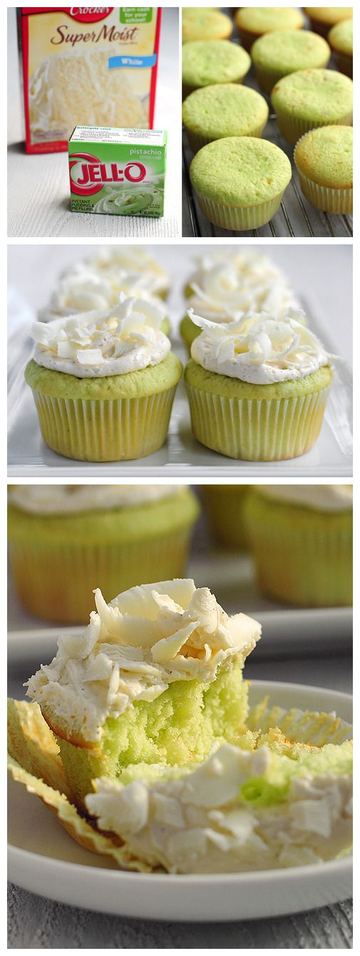 PISTACHIO CUPCAKES! I have tried these before and they are so moist ...
