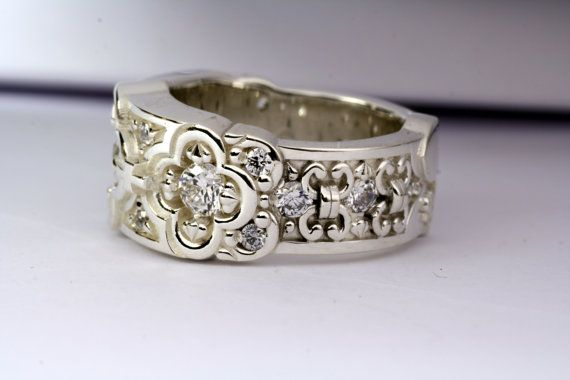wedding band renaissance ring band with white topaz