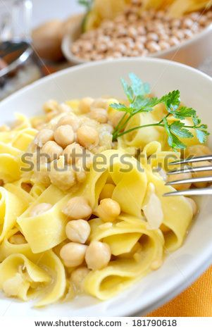 Homemade italian tagliatelle pasta with chickpeas cream and by ...