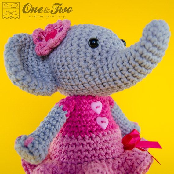 Crochet Elephant Pattern : Elephant Amigurumi - PDF Crochet Pattern - Instant Download - Doll cr ...