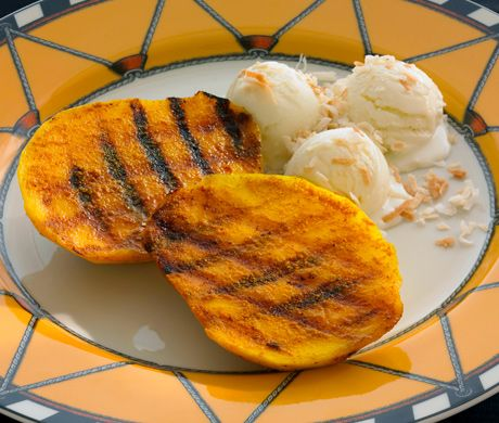 Grilled Curried Mangoes with Ginger Ice Milk Recipe | Epicurious.com