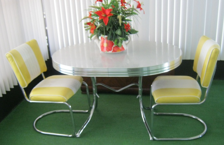 1950 39 s chrome gray yellow dining kitchen table leaf 2 chairs ebay