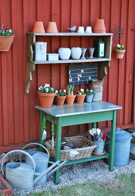 Simple potting area!  Very doable!