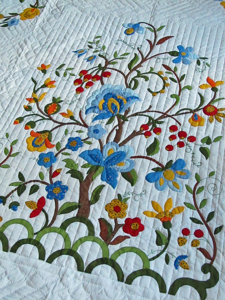 Vintage Quilt, Tree of Life Pattern, Amish Made Hospital Quilt