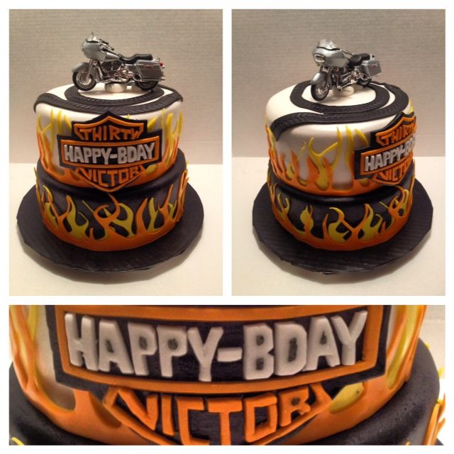 Harley Davidson Edible Cake Ideas and Designs