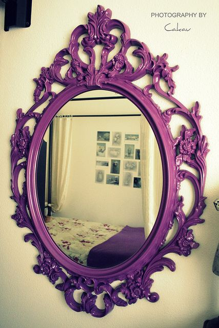 Purple Spray-painted Ornate Wall Mirror | flickr.com Photo by Cakau