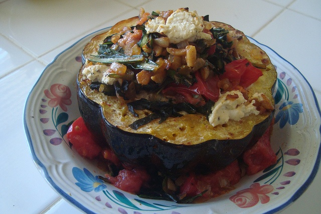 Roasted Acorn Squash Stuffed with Leafy Greens Topped with Goat Cheese ...