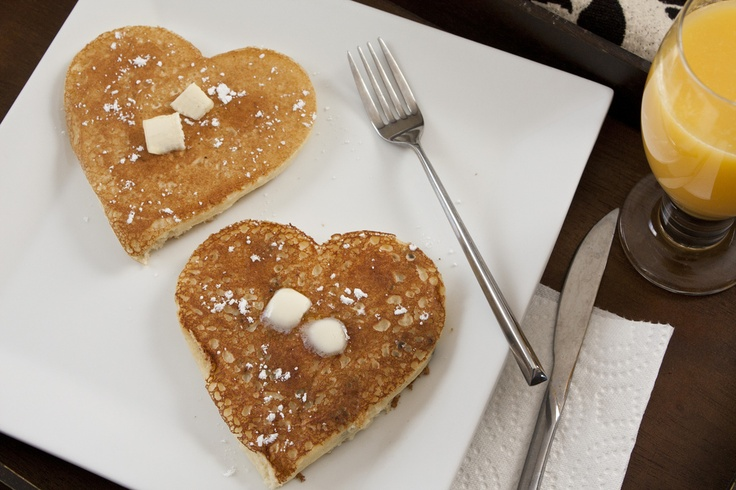 ... feel special this week with Heart Shaped Chocolate Chip Pancakes