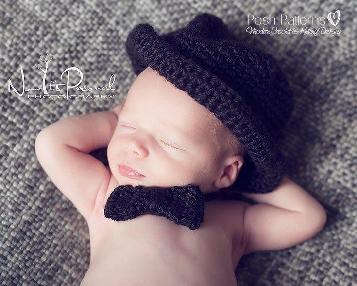 Crochet Pattern For Baby Thongs : Crochet PATTERN - Baby Bow Tie Little Man Tuxedo Tie ...
