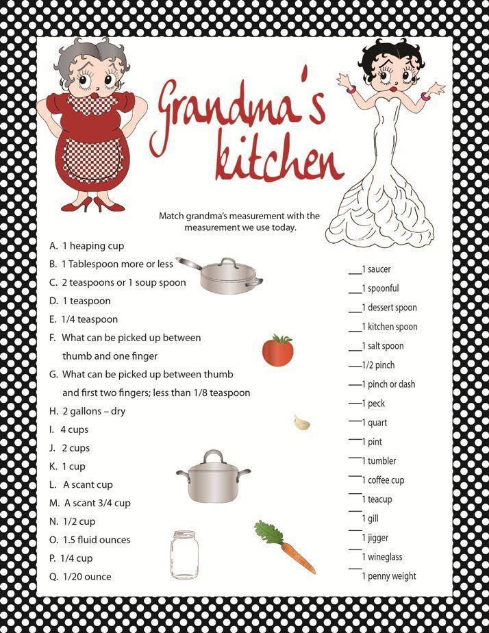 Games For Kitchen Tea Bridal Shower Bridal Shower Game Grandma 39 S Kitchen Kitchen Shower Game