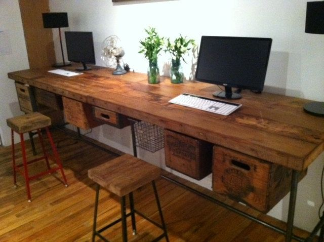 ft Industrial reclaimed wood work table connected (free shipping