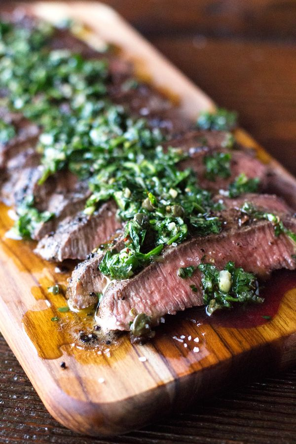 recipe made with pan-seared flank steak and garlicky Chimichurri ...